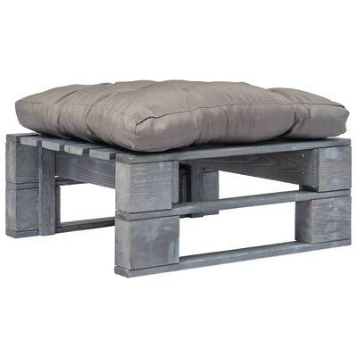 vidaXL Pallottoman med gråa dynor grått trä