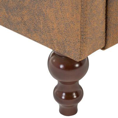 vidaXL Chesterfieldsoffa 3-sits tygklädsel mockaimitation brun