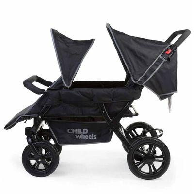 CHILDHOME Syskonvagn för 4 barn svart CWTB2
