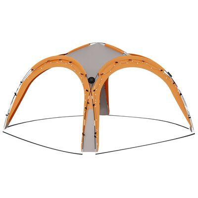 vidaXL Partytält med LED och 4 sidoväggar 3,6x3,6x2,3 m grå/orange