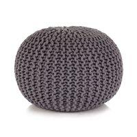vidaXL Handstickad puff i bomull 50x35 cm grå