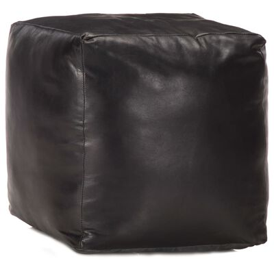 vidaXL Sittpuff svart 40x40x40 cm äkta getskinn