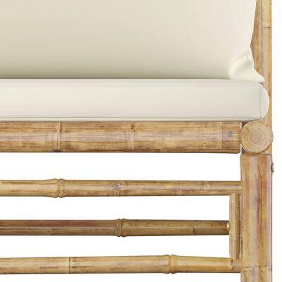 vidaXL Loungegrupp för trädgården med gräddvita dynor 3 delar bambu