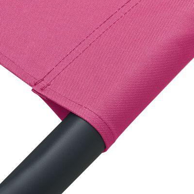 vidaXL Solsäng med tak & kudde rosa