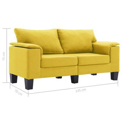 vidaXL 2-sitssoffa gul tyg