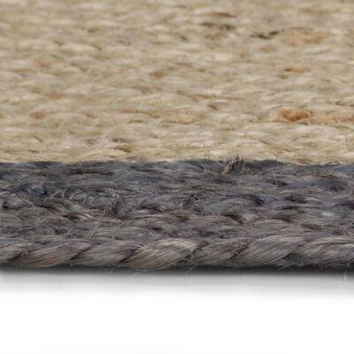 vidaXL Handgjord jutematta med mörkgrå kant 150 cm