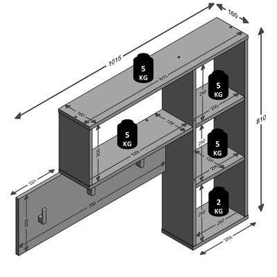 FMD Väggmonterad hatthylla 4 öppna fack antracit och ek