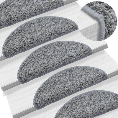 vidaXL 15 st Trappstegsmattor grå 56x20 cm, Grey