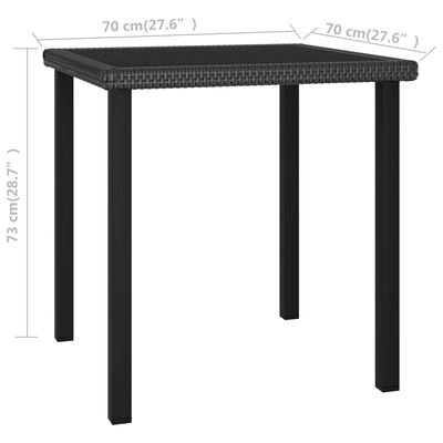 vidaXL Trädgårdsbord svart 70x70x73 cm konstrotting