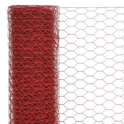 vidaXL Hönsnät stål med PVC-beläggning 25x1 m röd