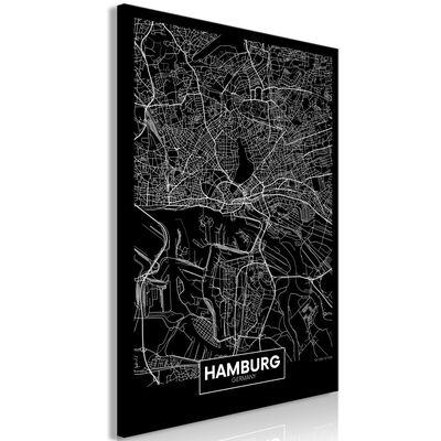 Tavla - Dark Map Of Hamburg (1 Part) Vertical - 60x90 Cm