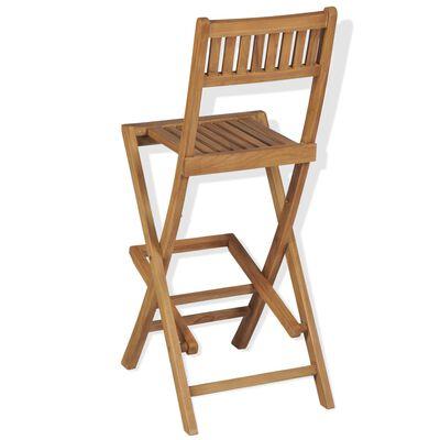 vidaXL Caféset med hopfällbara stolar massivt teakträ