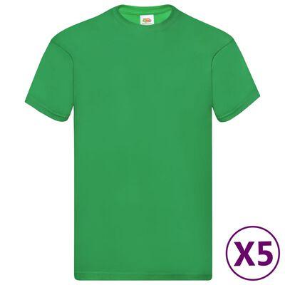Fruit of the Loom Original t-shirt 5-pack grön stl. S bomull