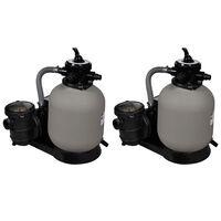 vidaXL Sandfilterpumpar 2 st 600 W 17000 l/tim