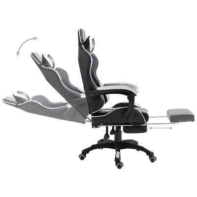 vidaXL Gamingstol med fotstöd vit konstläder