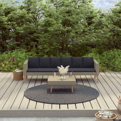 vidaXL Loungegrupp för trädgården med dynor 2 delar konstrotting beige, Beige