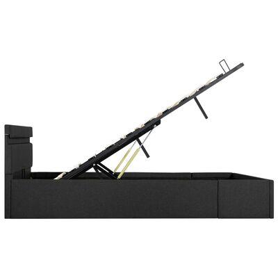 vidaXL Sängram med hydraulisk förvaring och LED mörkgrå tyg 140x200 cm