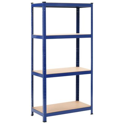 vidaXL Förvaringshyllor 2 st blå 80x40x160 cm stål och MDF