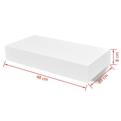vidaXL Flytande vägghylla med 1 låda MDF vit