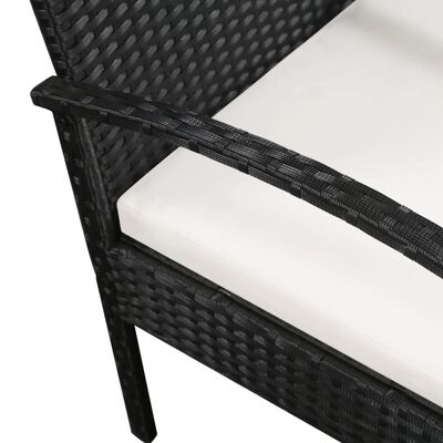 vidaXL Trädgårdssoffa 3-sits med dynor konstrotting svart