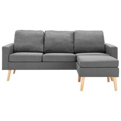 vidaXL 3-sitssoffa med fotpall ljusgrå tyg