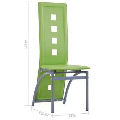 vidaXL Matstolar 2 st grön konstläder