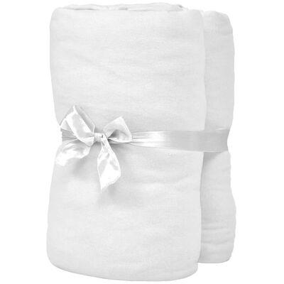 vidaXL Dra-på-lakan för barnsäng 4 st 70x140 cm bomullsjersey vit