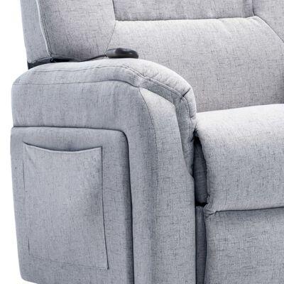 vidaXL Elektrisk reclinerfåtölj med uppresningshjälp ljusgrå tyg