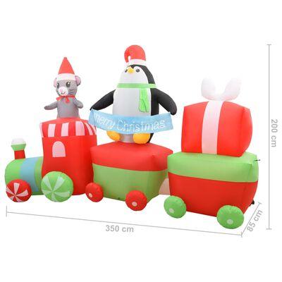 vidaXL Uppblåsbar pingvin & mus på tåg LED IP44 350 cm
