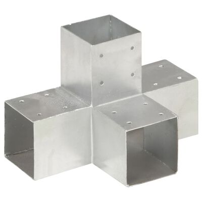 vidaXL Stolpbeslag X-form galvaniserad metall 91x91 mm