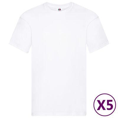 Fruit of the Loom Original T-shirt 5-pack vit stl. XL bomull