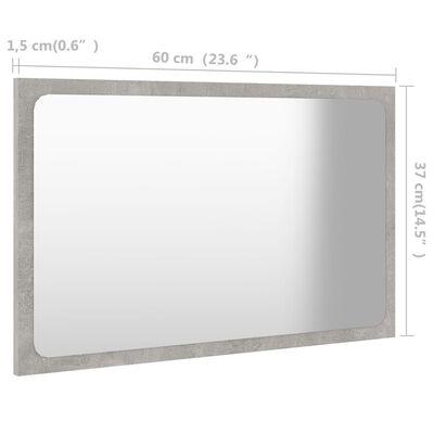 vidaXL Badrumsspegel betonggrå 60x1,5x37 cm spånskiva