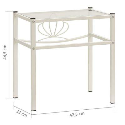 vidaXL Sängbord 2 st vit och transparent metall och glas