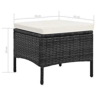 vidaXL Trädgårdssoffa 2-sits med bord & fotpallar konstrotting svart