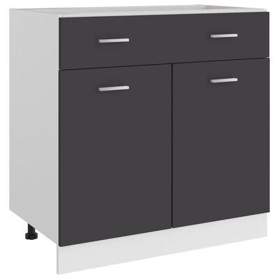 vidaXL Underskåp med låda grå 80x46x81,5 cm spånskiva