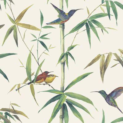 Noordwand Tapet Kolibri and Bamboo gulgrå