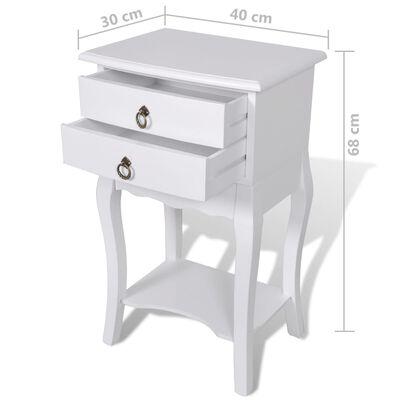 vidaXL Sängbord med lådor 2 st vit