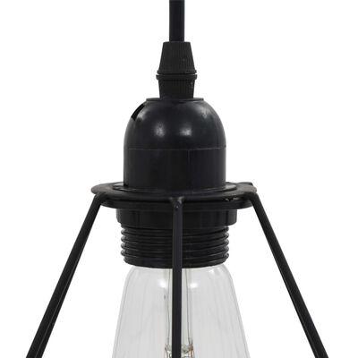 vidaXL Taklampa med diamantdesign svart 3 x E27-lampa
