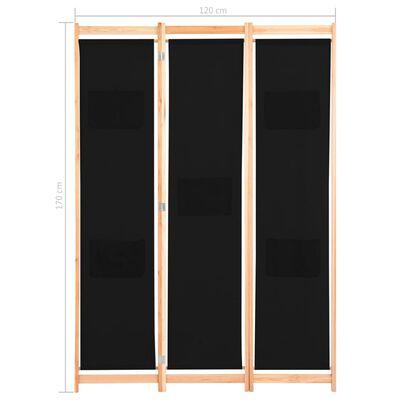vidaXL Rumsavdelare 3 paneler 120x170x4 cm svart tyg, Black