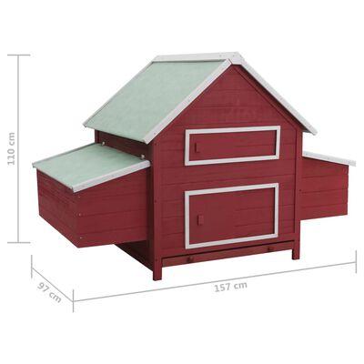 vidaXL Hönshus röd 157x97x110 cm trä