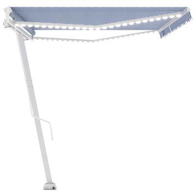vidaXL Markis manuellt infällbar med LED 500x300 cm blå och vit