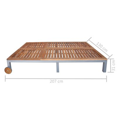 vidaXL Solsäng för 2 med dyna massivt akaciaträ och stål
