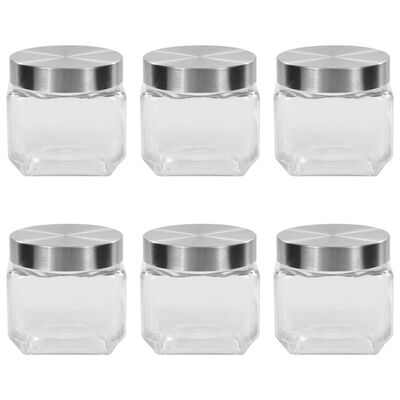 vidaXL Förvaringsburkar i glas med silvriga lock 6 st 800 ml
