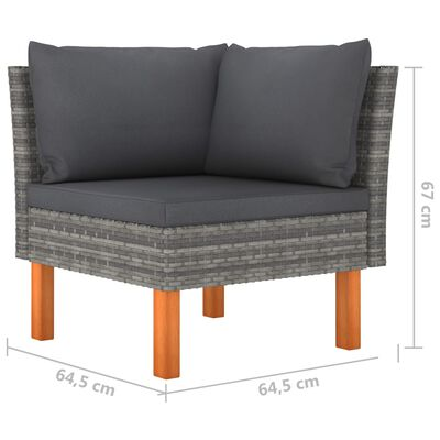 vidaXL Loungegrupp för trädgården 6 delar med dynor konstrotting grå