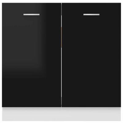 vidaXL Underskåp för diskho svart högglans 80x46x81,5 cm spånskiva