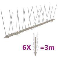 vidaXL 2-raders Fågelpiggar plast 6 st 3 m
