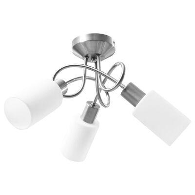vidaXL Taklampa med keramikskärmar för 3 E14-lampor vit kon