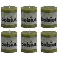 Bolsius Rustika blockljus 6 st 80x68 mm olivgrön