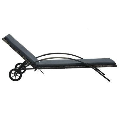 vidaXL Solsäng med dyna & hjul konstrotting antracit