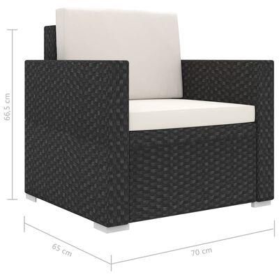 vidaXL Loungegrupp för trädgården m. dynor 13 delar konstrotting svart